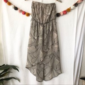 {Poetry} Strapless Leaf Pattern Dress